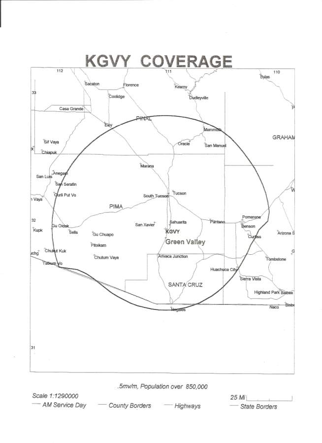 Coverage Map for KGVY Radio